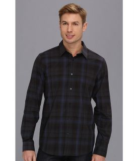 Calvin Klein YD Large Heather Tartan Shirt Mens Long Sleeve Button Up (Blue)