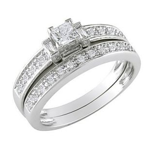 10K White Gold Diamond Bridal Set Silver 8.0