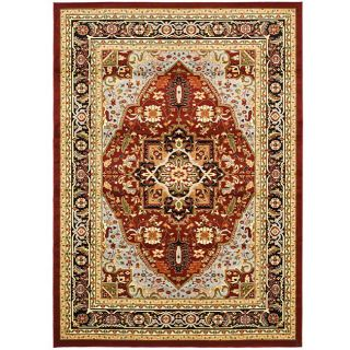 Lyndhurst Collection Traditional Red/black Rug (53 X 76)