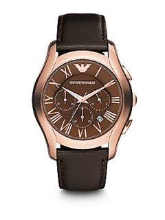 Emporio Armani Round Stainless Steel Chronograph Watch   Stainless Steel Brown
