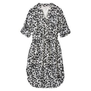 Merona Womens Drawstring Shirt Dress   Animal Print   XL