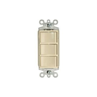 Leviton 1755I Light Switch, Decora Three Rocker Combo Switch, Commercial Grade, SinglePole Ivory