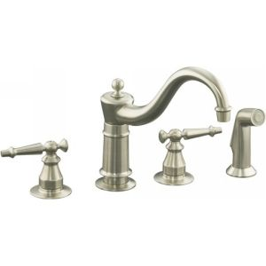 Kohler K 158 4 BN Antique Two Handle Kitchen Faucet with Sidespray