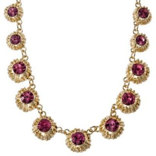 Womens Multi Stone Station Necklace   Pink/Gold (17)