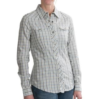 Carhartt Plaid Cotton Shirt   Snap Front  Long Sleeve (For Women)   LIGHT PERIWINKLE (S )