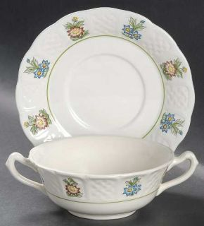 Royal Cauldon June Garden Flat Cream Soup Bowl & Saucer Set, Fine China Dinnerwa