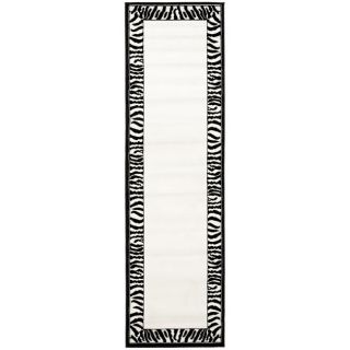 Lyndhurst Collection Zebra Border Black/ White Runner (23 X 8)