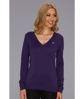 Lacoste L/S Extra Fine Cotton V Neck Sweater Womens Sweater (Purple)