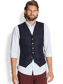 Brunello Cucinelli Linen/Wool/Silk Plaid Vest   Navy