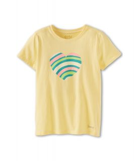 Life is good Kids Ripple Heart Crusher Tee Girls Short Sleeve Pullover (Yellow)
