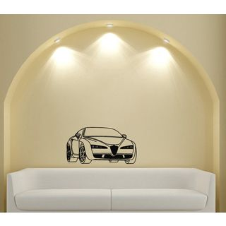 Alfa Romeo Car Style Design Vinyl Wall Art Decal (Glossy blackEasy to apply and remove, instructions includedDimensions 25 inches wide x 35 inches long )
