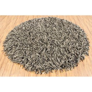 Hand woven Mandara Flat Cut Pile New Zealand Wool (79 Round) (Black, grey, ivoryPattern Shag Tip We recommend the use of a  non skid pad to keep the rug in place on smooth surfaces. All rug sizes are approximate. Due to the difference of monitor colors,