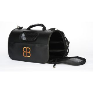 Hog Bag Faux Leather Pet Carrier in Black, Medium, 16 L X 10.5 W X 9.5 H
