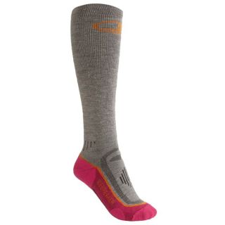Icebreaker Ski Midweight Socks   Merino Wool  Over the Calf (For Women)   BLACK/WHITE/BLACK (S )