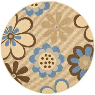 Safavieh Courtyard Natural Brown/Blue Rug CY4035B Rug Size Round 53