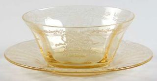 Fostoria June Topaz/Yellow Finger Bowl & Underplate   Stem #5098, Etch #279, Yel