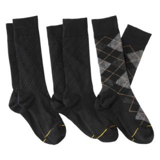 Auro a Gold Toe Brand Mens 3pk Dress Socks   Black Argyle/Pin Dots