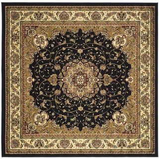 Lyndhurst Collection Traditional Black/ Ivory Rug (8 Square)