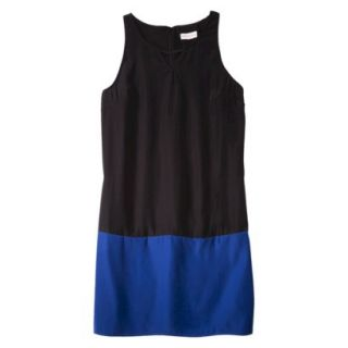 Merona Womens Colorblock Hem Shift Dress   Black/Waterloo Blue   S