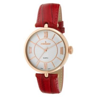 Peugeot Large Dial Leather Strap Watch   Rose Gold/Red
