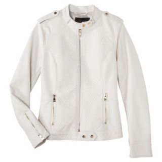 Mossimo Womens Faux Leather Jacket  White XL