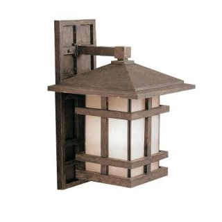 Kichler 9131AGZ Outdoor Light, Arts and Crafts/Mission Wall 1 Light Fixture Aged Bronze