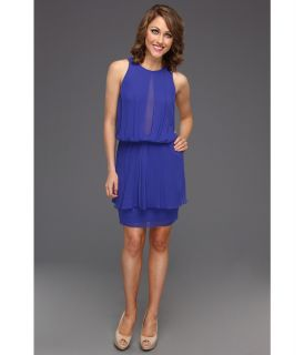 Nicole Miller Viscose High Neck Dress Womens Dress (Blue)