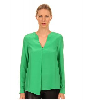 Tibi Solid Silk CDC Split Neck Long Sleeve Blouse Womens Blouse (Green)