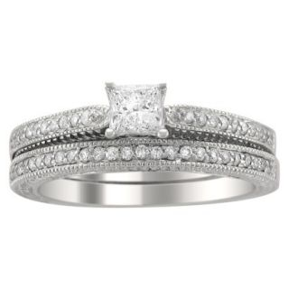 5/8 CT. T.W. Princess and Round Cut Diamond Bridal Prong Set Ring in 14K White