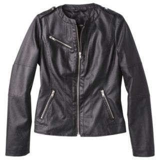 Mossimo Womens Faux Leather Jacket  Black S