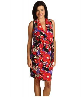 Anne Klein Floral Print Belted Dress Womens Dress (Multi)