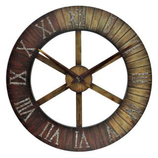 Crestview Collection Roman Numerals Metal 30 in. Wall Art with Clock Multicolor