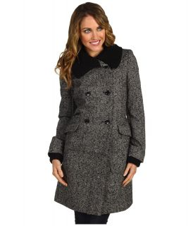 Nicole Miller Knit Trim Double Breasted Coat Womens Coat (Pewter)