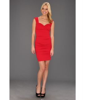Nicole Miller Satin Crepe Tucked Dress Womens Dress (Red)