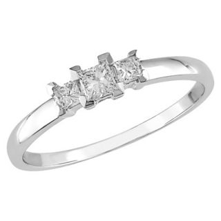 10K White Gold Diamond 3 Stone Ring Silver 8.0