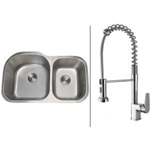 Ruvati RVC1551 Combo Stainless Steel Kitchen Sink and Chrome Faucet Set