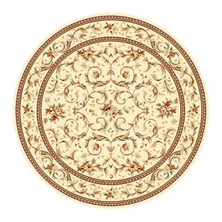 Lyndhurst Collection Traditional Ivory/ Ivory Rug (8 Round)