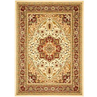 Lyndhurst Collection Traditional Ivory/red Area Rug (4 X 6)