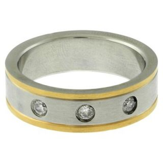 Stainless Steel and Cubic Zirconia Two Tone Mens Ring   (Size 10)