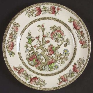 Johnson Brothers Indian Tree (Green Key, Cream) Luncheon Plate, Fine China Dinne