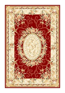 Lyndhurst Collection Aubussons Red/ Ivory Rug (53 X 76)