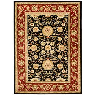 Lyndhurst Collection Majestic Black/ Red Rug (53 X 76)