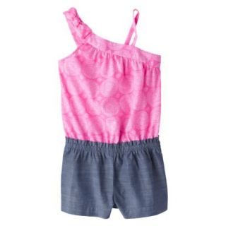 Cherokee Infant Toddler Girls Sleeveless Swirl and Chambray Romper   Dazzle