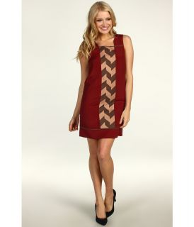 Jessica Simpson Sleeveless Contrast Panel Dress Womens Dress (Mahogany)