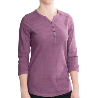 Woolrich Hills Creek Henley Shirt   3/4 Sleeve (For Women)   GRAPE (S )