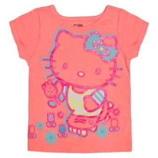 Hello Kitty Infant Toddler Girls Short Sleeve Tee   Apricot Orange 5T
