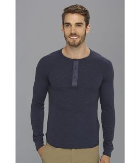 Lucky Brand Slub Thermal Henley Mens T Shirt (Navy)