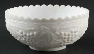 Imperial Glass Ohio Vintage Grape Milk Glass/Doeskin Round Bowl   Stem #473, Mil