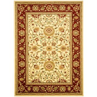 Lyndhurst Collection Majestic Ivory/ Red Rug (8 X 11) (IvoryMeasures 0.375 inch thickTip We recommend the use of a non skid pad to keep the rug in place on smooth surfaces.All rug sizes are approximate. Due to the difference of monitor colors, some rug c