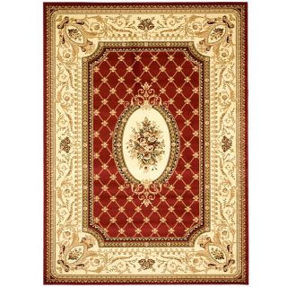 Lyndhurst Collection Traditional Red/ Ivory Rug (53 X 76)